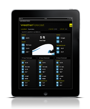 iPad with weather and wave forecast